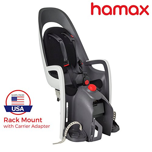 Hamax Caress Rear Child Bike Seat (Grey/White, Rack Mount)