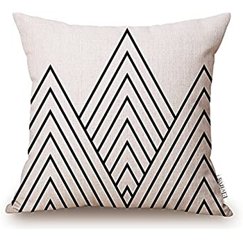 """Elviros Cotton Linen Home Decorative Throw Pillow Case Cushion Cover for Sofa Couch, Black Geometric Lines, 18"""" x 18"""""""