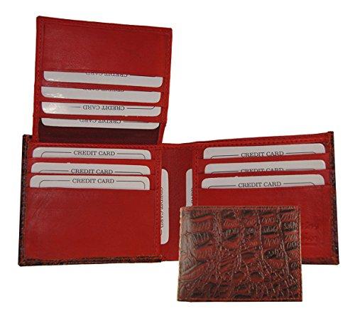 Mens Genuine Leather Bifold Alligator Skin Print Flip Up Croco Cowboy Wallet Red