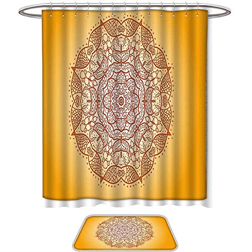 QINYAN-Home Print Bathroom Rugs Shower Curtain Mandala Decor Retro Oriental Embellished Circular Mehndi Arabesque Curved Form Kirsch Image Red Orange. Decorate The Bathroom(Ten Sizes Select)