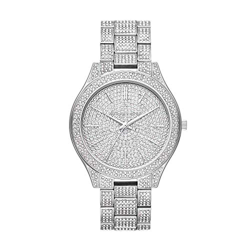 Michael Kors Women's Slim Runway Stainless-Steel and Pave Watch MK3888 (Slim Runway Stainless Steel Watch)
