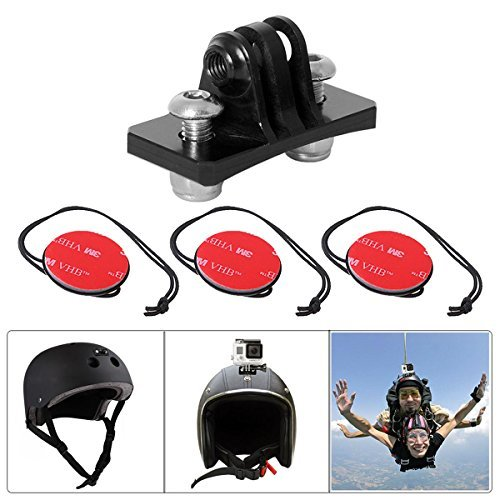 Action Camera Helmet Mount Aluminum Skydiving Helmet Mount Permanent Helmet Mount Helmet Front Mount Compatible with GoPro Hero 6/5 / 4/3+ Session/SJCAM/Garmin Virb XE Virb Action Cam - Black