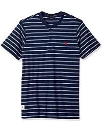Men's Short Sleeve Henley Striped T-Shirt