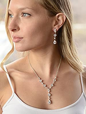 Mariell Silver Platinum Plated Cubic Zirconia Wedding Necklace & Earrings Bridal Jewelry Set for Brides