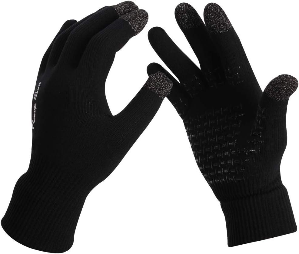RANDY SUN 55% Merino Wool Waterproof Touch Screen Gloves, Windproof Safety Resistance Bike/Work/Mountaineering/Hiking/Skiing Gloves