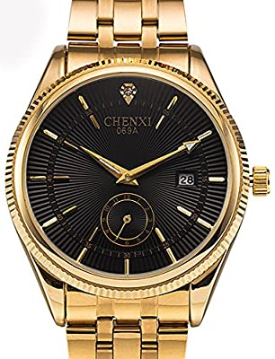 Fanmis Men's Luxury Analog Quartz Black Dial Gold Watch Business Stainless Steel Band Dress Wrist Watch Classic Calendar Date Window 3ATM Water Resistant from Fanmis