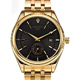 Fanmis Men's Luxury Analog Quartz Black Dial Gold Watch Business Stainless Steel Band Dress Wrist Watch Classic Calendar Date Window 3ATM Water Resistant