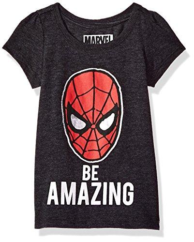 Spiderman Toddler Girls' Amazing Short Sleeve T-Shirt, Charcoal Heather, 4T