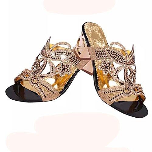 6 Schuhe Gold Hohe Womens Schwarz Sandalen Lolittas 3 Leder Blockabsatz Sommer Bling Diamante Sparkly Plattform Peep Breite Größe Hochzeit Giltter Braut Toe ZS8WRnwYq