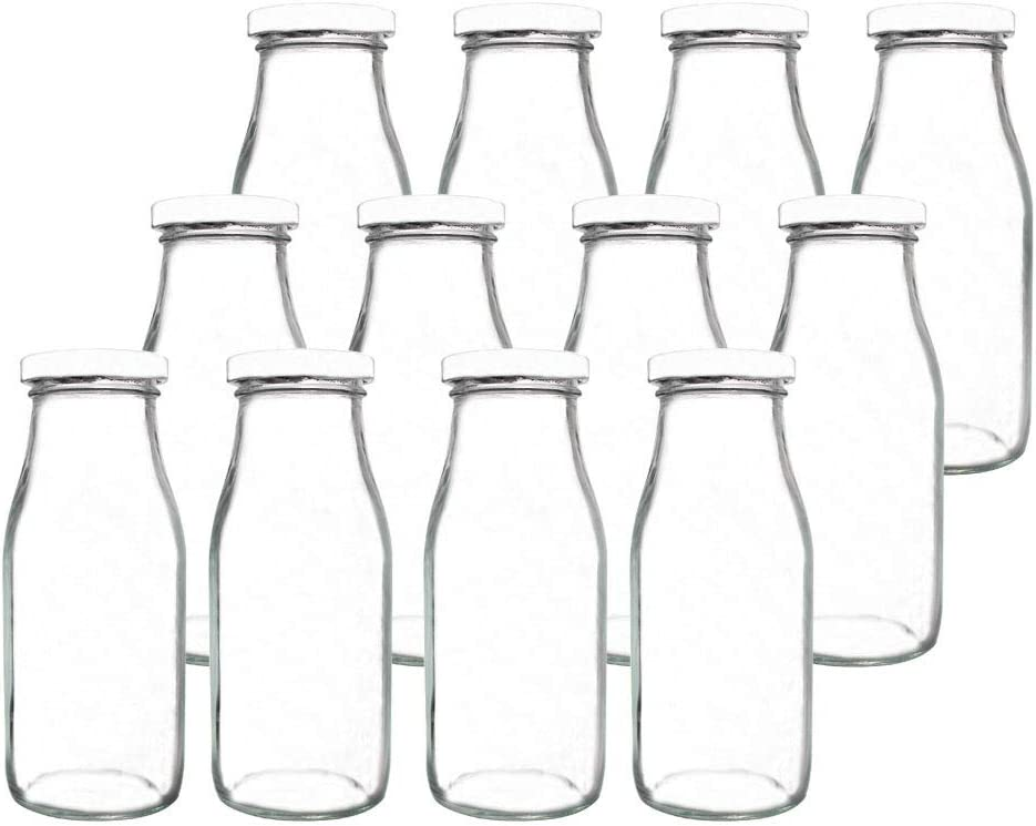 YEBODA 11oz Glass Milk Bottles with Reusable Metal Twist Lids and Straws for Beverage Glassware and Drinkware Parties, Weddings, BBQ, Picnics, Set of 12
