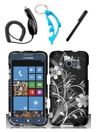 Rubberized White Flowers Design - Zizo 4 Items Combo For Samsung ATIV S Neo i800 (Sprint) White Flowers Design Rubberized Hard Case Snap On Protector Cover + Car Charger + Free Stylus Pen + Free Alloy Beer Bottle Opener Dolphin Keychain