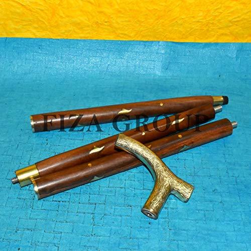 (FIZA GROUP Edwardian Antique Victorian Brass Designer Walking Vintage Stick Brown Canes Shaft)