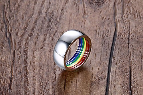 XUANPAI Custom Engraving Stainless Steel Wedding Band Gay Lesbian LGBT Pride Ring,Personalized Gift,8 by XUANPAI Ring (Image #2)