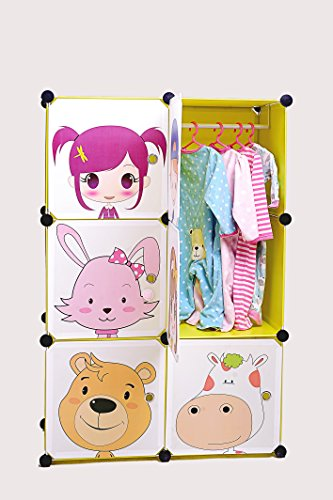DIY Kid's Cube Furniture, Wardrobe, Closet, Organizer, Safe and Stable, Cartoon Design, Safety Closures Included (6 cubes) (Closet Organizers For Kids compare prices)
