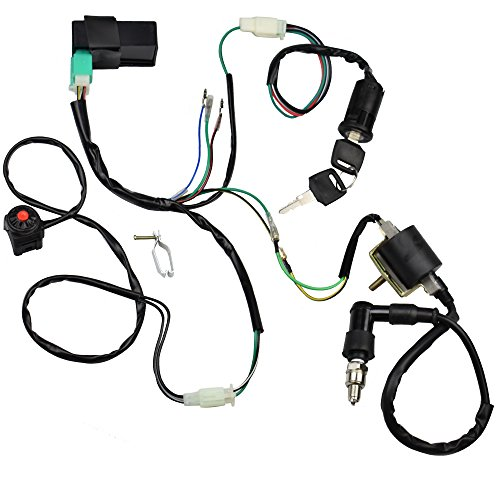 Minireen Wire Harness Wiring Loom CDI Ignition Coil Spark Plug Rebuild Kit for 50cc 70cc 90cc 110cc 125cc Stator CDI Coil ATV Quad Bike Buggy Go -