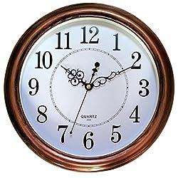 HOMY Wall Clock 13 Silent Quartz Decorative Wall Clock Non-ticking,Bronze