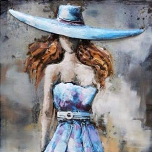 刺繍ファッションハット美容女性クロスステッチラインストーンモザイク現代壁のアート装飾絵画5Dダイヤモンド (Color : Round diamond)