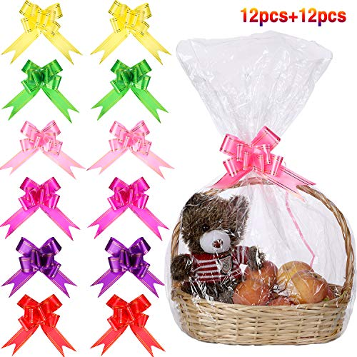 (12 Pieces Clear Basket Bags Cellophane Wrap Bag and 12 Pieces Pull Bow Knot Ribbon Bows for Gift Basket Wrapping, 32 by 22 Inches)