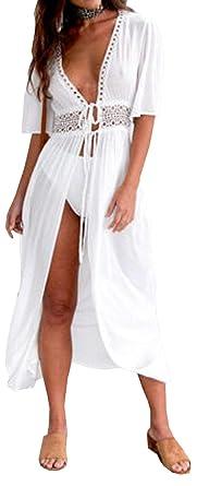 9b55ed4323a Carolilly Cache Maillot Femme Robe de Plage Longue Ajourée Manches 1 2  Blouse Bikini en