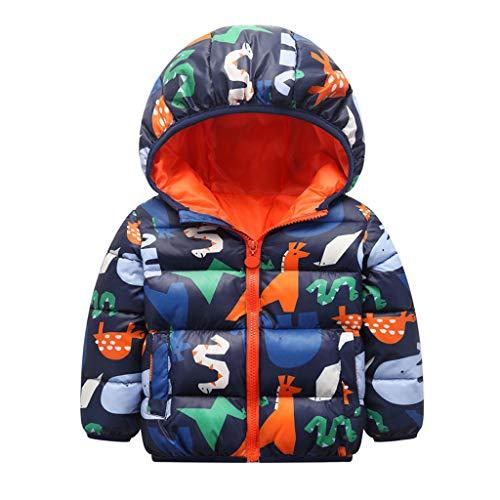 Toddler Kid Baby Girl Boy Cartoon Animal Planet Printing Hooded Down Coat Jacket Outwear Warm Outfits(12M-5Y) Orange