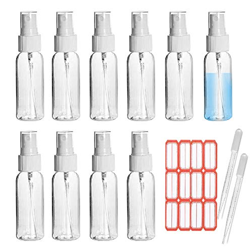 YUELAX 5 Pack 1 oz Clear Spray bottle, Mini Refillable Container with Fine Mist Sprayer for Perfume, Liquids, Makeup…