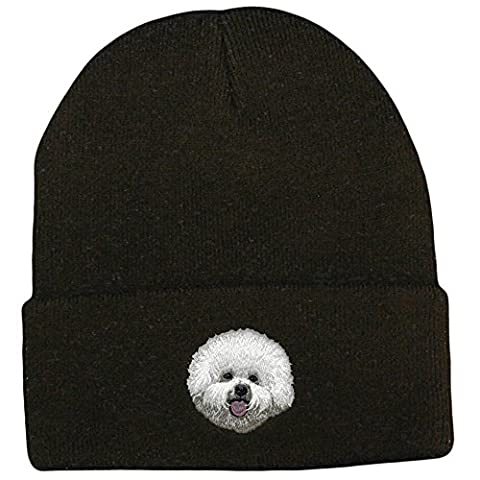 Cherrybrook Dog Breed Embroidered Ultra Club Classic Knit Beanies - Black - Bichon Frise - Black Classic Knit Beanie