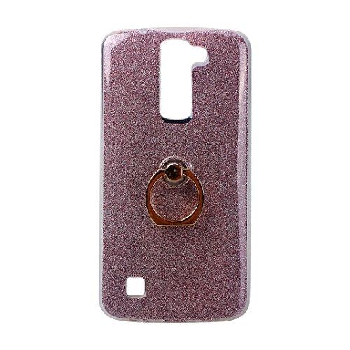 706e949e0ad Funda LG K7 con Anillo, LG K8 Carcasa Silicona Gel, Moon mood® 2 en 1 Suave  TPU + Papel Brillo Hybrid Funda con 360 Rotación Anillo Soporte Función  Bling ...