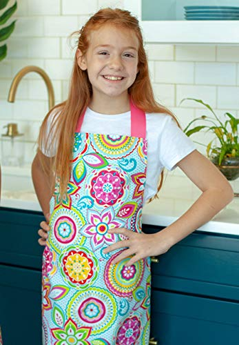 Colorful Pink Floral Handmade Art Craft or Baking Apron Gift for Tween Girl from Sara Sews, Inc.
