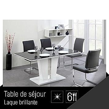 Trevise Table A Manger 6 Personnes 150x90 Cm Noir Et Blanc