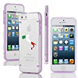 Apple iPhone 4 4s Ultra Thin Transparent Clear Hard TPU Case Cover Italy Italian Flag (Purple)