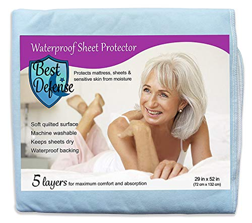 Large 28 x 52 Best Defense Medical Grade Mattress Protector, Waterproof Sheet Protection and Hospital Incontinence Bed Pad, Most Absorbent Reusable Enuresis Bed Pads for Adults, Kids, and Toddlers