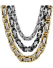 AMOZ 6/8Mm roestvrij staal Byzantijnse ketting, heren vrouwen prachtige dominante keizer ketting Hip-Hop Biker Rapper's sieraden Classic