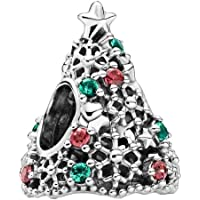 PANDORA Colgante de árbol de Navidad Brillante, Plata de Ley, 11,4 x 14,6 x 12,5 mm