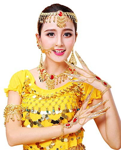 (Belly Dance Gold Headpiece & Necklace & Earrings & Arm Band 2 Piece Bracelet with Finger Nails Tribal Gypsy Dance Jewelry Set)