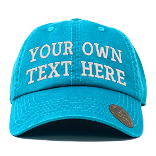 Custom Hat, Embroidered Classic Polo Style Baseball Cap Adjustable Men Women Low Profile Dad Cap Hat (Aqua) (Lady Cap Polo)