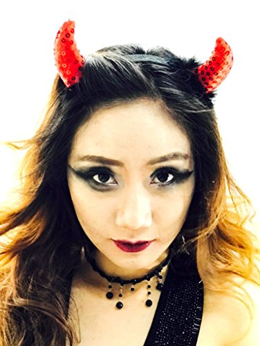 MeeTHan Fancy Cat Women Set Devil Horns Headbands :H4 (Red Sequin fur)