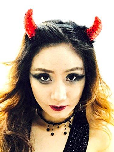 MeeTHan Fancy Cat Women Set Devil Horns Headbands :H4 (Red Sequin fur)