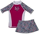 grUVywear Girls Short Sleeve UPF 50+ Rash Guard and Bikini Skirt Swimsuit Set - Floral Pink |7-8