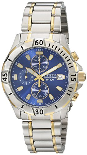 Citizen Men's Quartz Two-Tone Stainless Steel Chronograph Watch with Date, (Two Tone Chronograph Silver Dial)