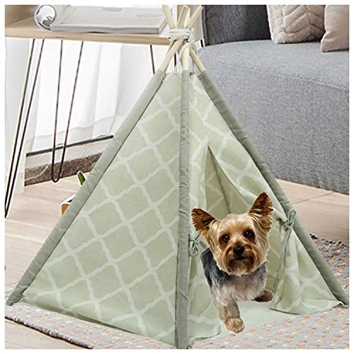 Ukadou Pet Teepee Tent for Dogs, Cute Dog Teepee Tent Bed, Modern Pet Teepee Tent House with Floor,Puppy beds for Small Dogs, Portable Indoor Dog House Cat Tent Bed Tipi, Rabbits Pet House 24Inch