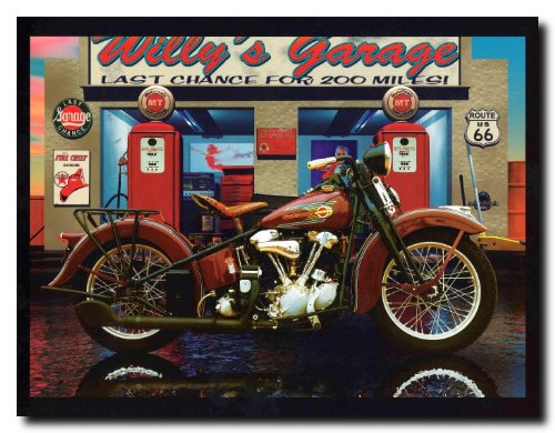 Route 66 Motorcycle (Harley Davidson Willy's Garage Vintage Motorcycle Route 66 Wall Decor Art Print Poster (16x20))