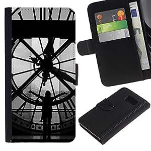 LASTONE PHONE CASE / Lujo Billetera de Cuero Caso del tirón Titular de la tarjeta Flip Carcasa Funda para Samsung Galaxy S6 SM-G920 / Architecture Big Ben Clok Inside