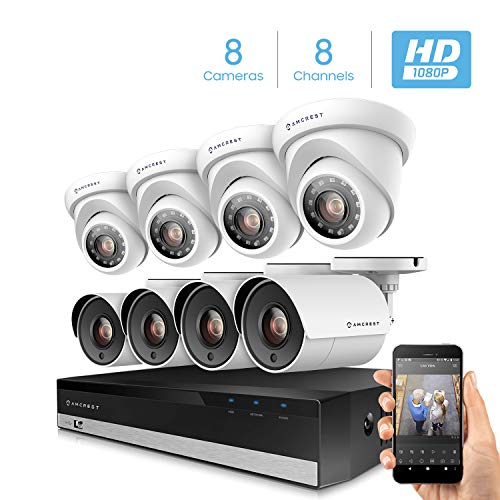 - Amcrest ProHD 1080p 8CH Home Security Camera System with 8 x 2-Megapixel Weatherproof Outdoor Security Cameras, 2MP DVR w/Pre-Installed 1TB Hard Drive, Night Vision, BNC Cables (AMDV20M8-4B4D-W)
