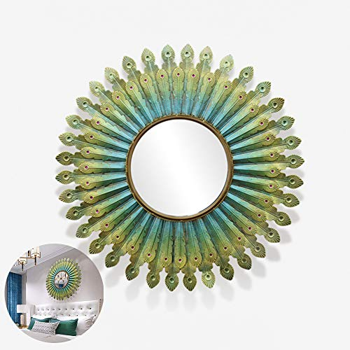 Decorative Wall Mirror, European 3D Metal Phoenix Wall-Mounted Mirror, Bedroom, Living Room, -