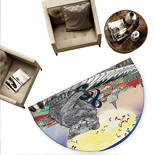 City Half Round Door mats Musical Notes Cat with The Keyboard on Rooftops in Night Sky Old Town Full Moon Art Print Bathroom Mat H 78.7