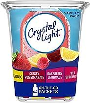 Crystal Light Lemonade, Raspberry Lemonade, Wild Strawberry & Cherry Pomegranate Variety Pack Drink Mix (4