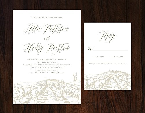 Rustic Tuscan Wedding Invitation, Vineyard Wedding, Winery Wedding Invitation, Romantic Wedding Invitation by Alexa Nelson Prints