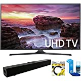 Samsung (UN55MU6290FXZA) Flat 54.6 LED 4K UHD 6 Series Smart TV (2017 Model) with Solo X3 Bluetooth Home Theater Sound Bar + 6ft HDMI Cable + Universal Screen Cleaner for LED TVs