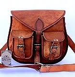 Shakun Leather Handmade Women Vintage Genuine Cross Body Bag Double Pocket Front Satchel, 10 x 13 Inch