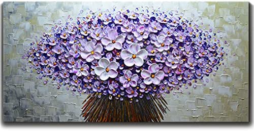 Asdam Art Painting-3 Panels Flower Paintings On Canvas Hand Painted Abstact Artwork Tree Picture Horizontal Wall Art for Living Room Dinning Room Purple16x24x3 inch